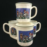 Set of 4 VTG Mugs by Arcopal Holiday Village Christmas Winter Victorian France
