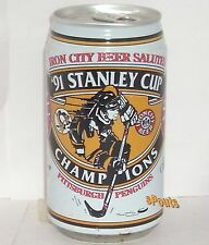 1991 PITTSBURGH PENGUINS 1st STANLEY CUP ICE HOCKEY NHL BEER CAN PENS SPORTS TIN