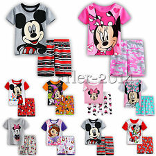 Boys Kids Mickey Minnie Pyjamas Pj's Set Girl T-shirt Shorts Nightwear Sleepwear