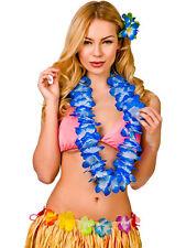 Hawaii Party Blue Beaded Lei Flower Hula Fancy Dress Garland Necklace 9.5cm