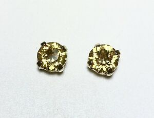 Crystal Stud Earrings Silver Or Gold Fashion Yellow Made With Swarovski