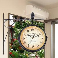 Ridgeyard Jardin Double Face Horloge Murale À l'extérieur Décoration Intérieure