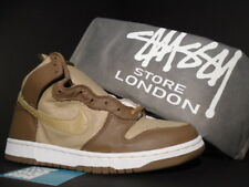 2001 Nike Dunk Hi Plus B STUSSY OSTRICH WHEAT BROWN BRIT KHAKI CANE WHITE NEW 12