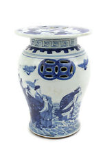 """Blue and White 8 Immortals Chinese Porcelain Miniature Garden Stool 12"""""""