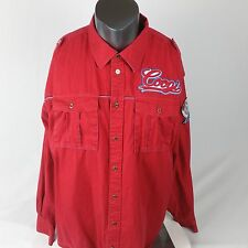 VTG Mens 3XL COOGI Embroidered LS Red Shirt 69 Shield Patch Lit Hip Hop