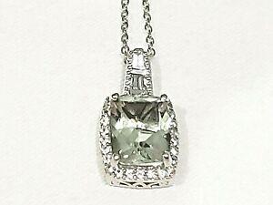 """Green Amethyst (Prasiolite) & White Zircon halo necklace 20"""" Platinum over 925"""
