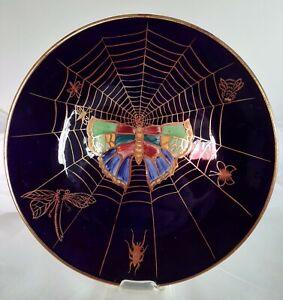 GRIMWADES RARE BYSZANTA WARE PLATE COLBALT BLUE 1930+ SPIDER WEB & BUTTERFLIES