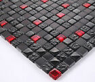 Bellissimo 30x30cm piastrelle Mosaico Nero+Rosso Pietra naturale con vetri Bo -6