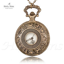 Vintage Antique Style Zodiac Bronze Pocket Watch Necklace 003