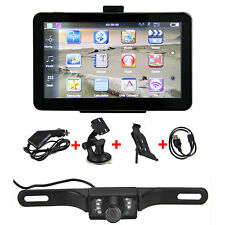 "7"" Car GPS Navigation Rear View Monitors Mirror Wireless reversing Camera Kits"