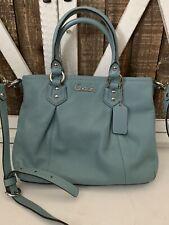 COACH F20342 Light Blue  Leather Crossbody Shoulder Handbag Satchel Purse