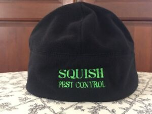 Port Authority Fleece Beanie SQUISH PEST CONTROL Black, Green Embroidered EUC