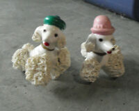 "Lot of 2 Vintage Small Ceramic Porcelain Poodle Sitting Dog Figurines 2 1/8"" T"
