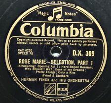 """12"""" 78-Herman Finck & ORCHESTRA-ROSE MARIE, Sélection-COLUMBIA DX309"""
