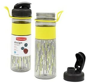 Rubbermaid 20 oz Design Series Plastic Sports Bottle - Yellow Line Design