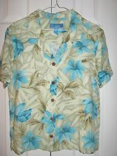 Island Winds M Hawaiian Multi-Color Tropical Floral Short Sleeve Casual Blouse