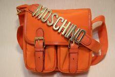 Moschino Rare Redwall Orange Nylon/Medium Gold Letters Crossbody/Shoulder Bag