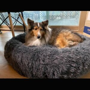 Soft Long Plush Best Pet Bed for Large Dogs Round  Cushion Mat Animals Basket So