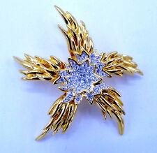 "KJL KENNETH JAY LANE BROOCH FLOWER STAR SUN WHITE RHINESTONES GOLD TONE 2 1/2"""