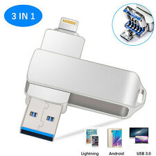 1TB 256GB OTG USB 3.0 Flash Drive Memory Stick Pen 3 in 1 For iPhone/Android/PC