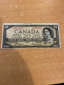 1954 CANADA 20 DOLLARS DEVILS FACE NOTE - Circulated VG Collectable Item