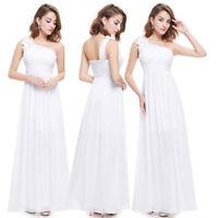 Ever-Pretty One-Shoulder Bridesmaid Dresses Long Maxi Formal Evening White 08237