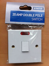 20amp Double Pole Switch Switched  White Square Edge Finish Neon
