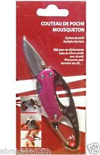 COUTEAU DE POCHE AVEC MOUSQUETON SECURITE