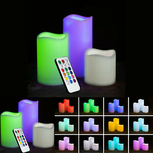 3 BATTERY OPERATED LED CANDLES COLOUR CHANGING FLAMELESS LIGHT UP CANDLE REMOTE