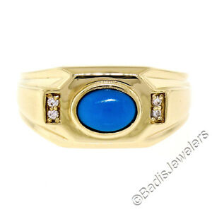 Men's 14K Yellow Gold Oval Cabochon Turquoise Solitaire & Diamond Accent Ring