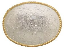 Western Decor Bright Silver/Gold Plated Rope Border Engraved Buckle