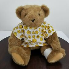 "Vermont Teddy Bear 15"" Brown Jointed Bear Smiley Face Hospital Gown"