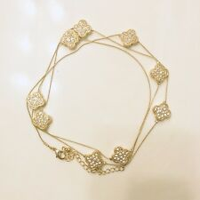 """Gold-tone Clear Crystal Encrusted Four Leaf Clover Flower Chain Necklace 36"""""""