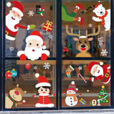 Christmas Stickers Window Santa Wall stickers Shop Home Decor Snowflake Art