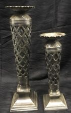"Vtg Rare 16.5"" & 12.5"" Silverplate Filigree Overlay Bubbled Glass Candle Holders"