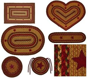 Cinnamon Jute Star Braided Rug & Tabletop Farmhouse Country Rustic Collection