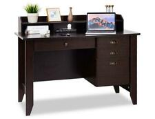 BLACK OR BROWN 4-Drawer Writing Desk w/ Upper Shelf AND 2-YR WARRANTY SHIPS FREE