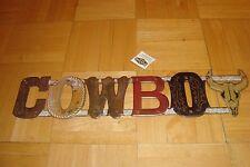 """MANCAVE: OPEN ROAD Brands : Letter Design """" COWBOY """" Image Tin metal sign"""