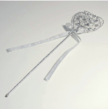 Silver Heart Wand Bridesmaid Flowergirl Bridal or Fancy Dress Ribbon Wire Handle