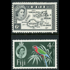FIJI 1954-63 6d Map & 4s Flower. SG 287 & 308. Lightly Hinged Mint. (CA596)
