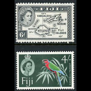 FIJI 1954-63 6d Map & 4s Flower. SG 287 & 308. Lightly Hinged Mint. (CA596)
