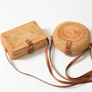 New Women Straw Bag Handmade Rattan Shoulder Bags Bamboo Crossbody Strap Purse