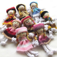 8/24PCS Girl Dolls Crochet Appliques Wedding Decor Craft Mix A0446