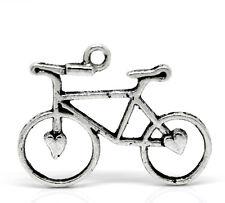 """Charm Pendants 31mmx23mm(1 2/8""""x 7/8"""") 120Pcs Silver Tone Bike Bicycle"""