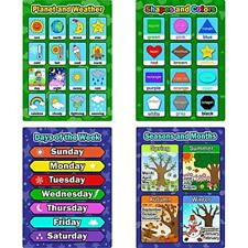 Bememo 4 Educational Charts & Posters Pieces Learning Posters, Days Of The Week,