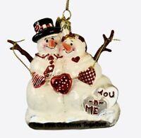 Ornament Kurt Adler Snowman Our 1st Christmas Together Glass Noble Gems Snowlady