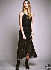 NWT Free People Alice McCall black lace Halter Cut Out Midi Maxi Dress US 4