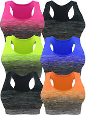 SPORTS BRA ACTIVEWEAR TOP YOGA NYLON SPANDEX SEAMLESS RACER BACK COLORFUL 3 OR 6