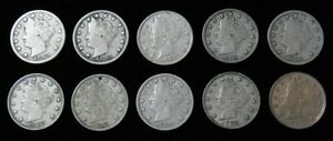 (10) 1883 UNITED STATES LIBERTY V NICKEL 5C CIRCULATED COIN LOT