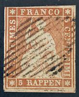 Swiss 1854 5r, Seated Helvetia Scott #14, used, CV $1750